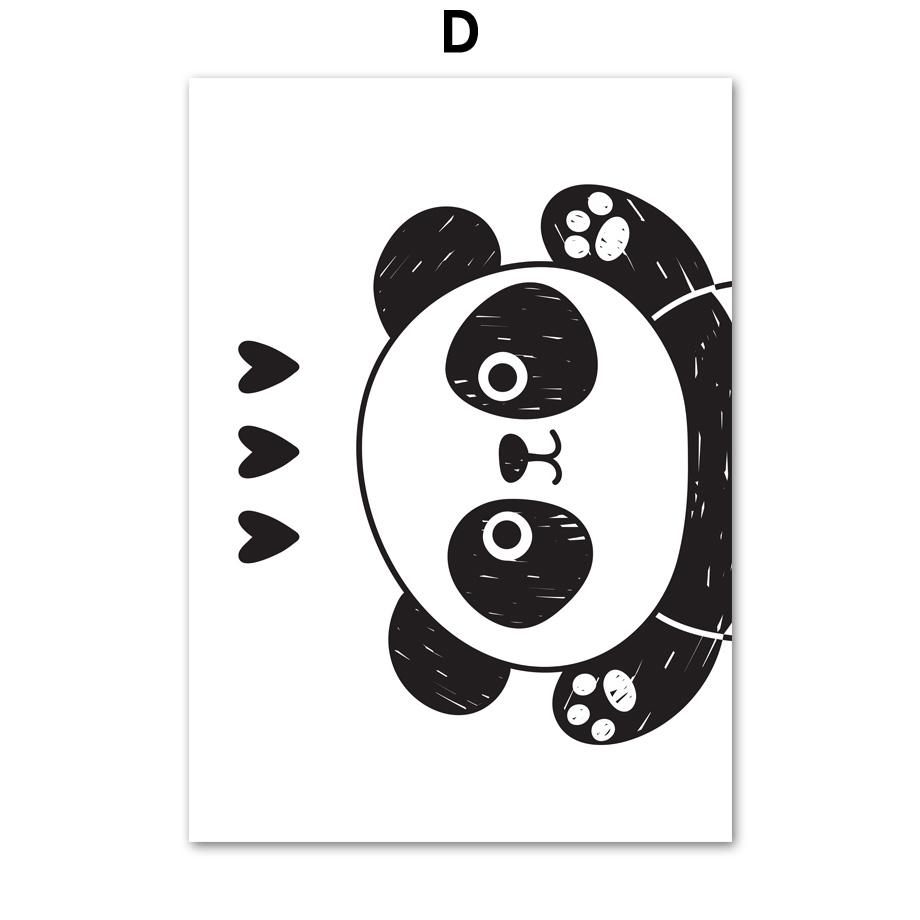Poster Lukisan Bahan Kanvas Gambar Panda Lucu Warna Hitam Putih Gaya Nordic Untuk Dinding Shopee Indonesia