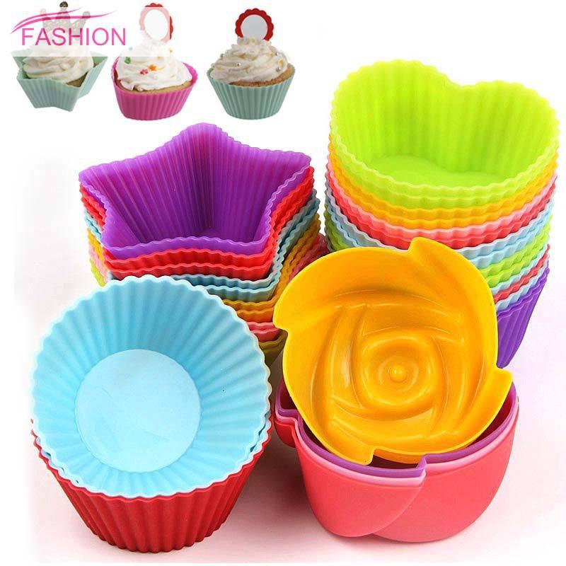 50 Pcs Cup Kertas Kue Muffin Sekali Pakai Anti Minyak Model Tulip untuk Dapur/Baking