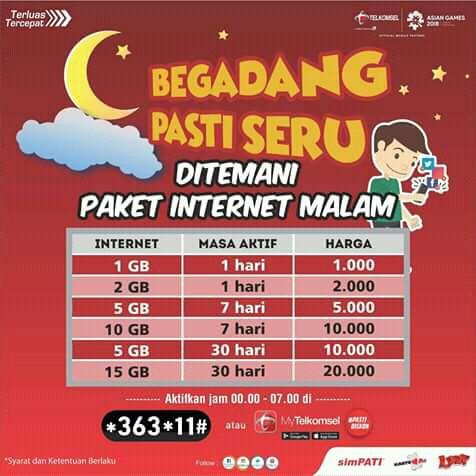 Promo Kuota Telkomsel Midnight Kuota Malam Telkomsel Paket Begadang Murah Shopee Indonesia