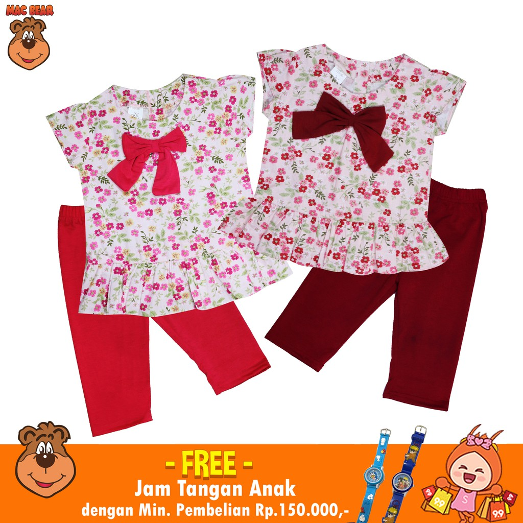 Macbee Kids Baju Anak Setelan Lily Flowers Brown Green Shopee Macbear Polo Brave Fire Size 1 Navy Indonesia
