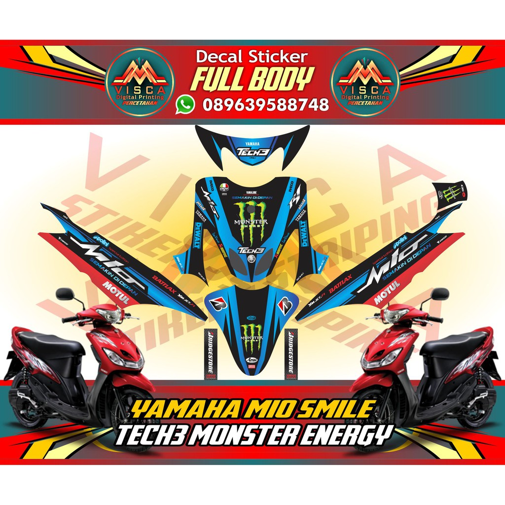 Sticker motor xride decal xride striping motor xride monster energy tech 3 yellow shopee indonesia