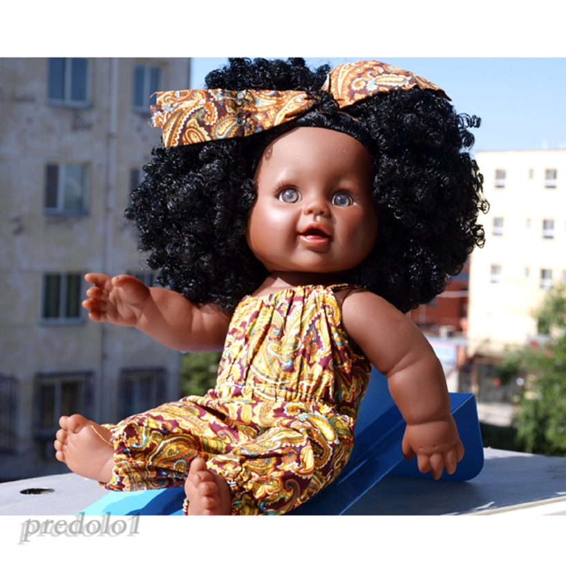 2pcs Huggable African American Baby Doll Vinyl Newborn Girl Doll Black Hair