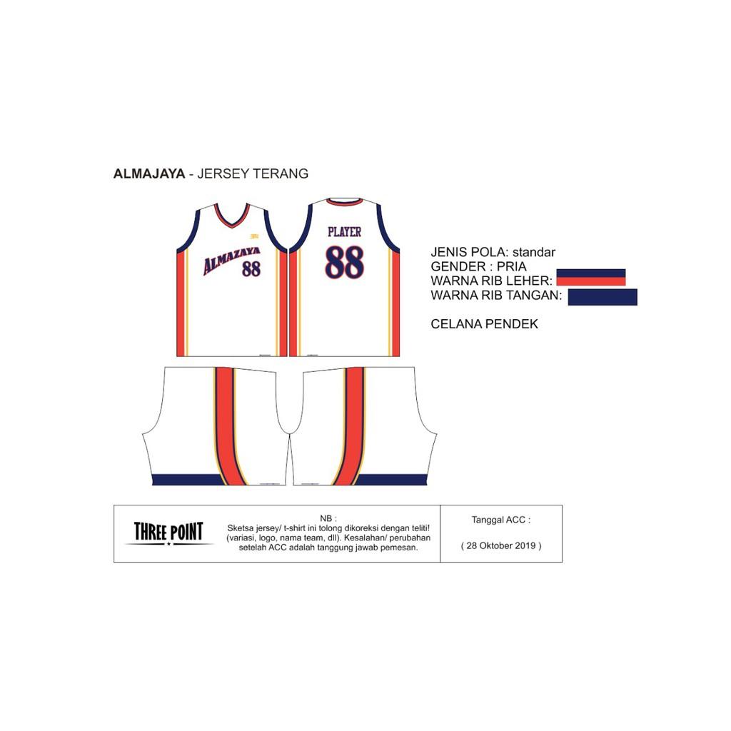 Threepoint Jersey Basket Almazaya Setelan Terang Keren LIMITED