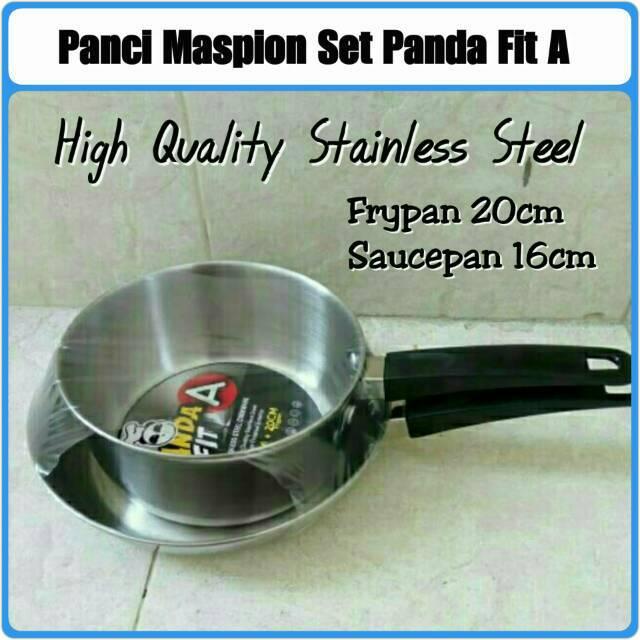 Home-Klik Maspion Panda Fit A Set Wajan Penggorengan Sauce Pan 16 CM & Fry Pan 20 CM | Shopee Indonesia