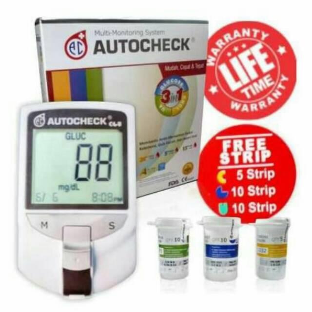 Autocheck Multi Monitoring System 3 in 1 GCU Glucose Cholesterol Uric Acid Gula Kolesterol Asam Urat   Shopee Indonesia
