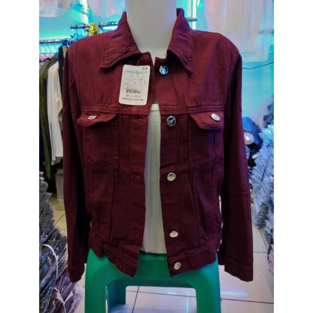Jaket Jeans SlimFit Cewek Wanita Limited Stock Warna Hijau Army Kuning Kunyit Maroon   Shopee Indonesia