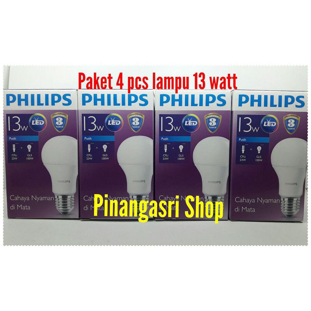 Lampu Led Philips 13w 13 W Watt Promo Beli 3 Gratis 1 Bundling Bohlam Philip Bulb 13watt Paket  4pcs Shopee Indonesia