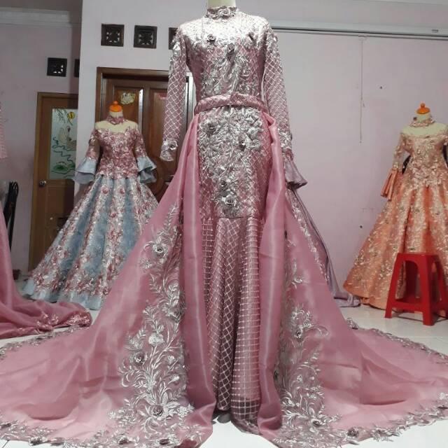 Gaun Pengantin Modern Duyung Warna Ping Dan Silver