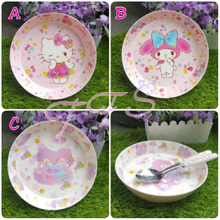 Mangkok / Piring fancy karakter hello kitty / melody / Doraemon / frozen / Spiderman   Shopee Indonesia