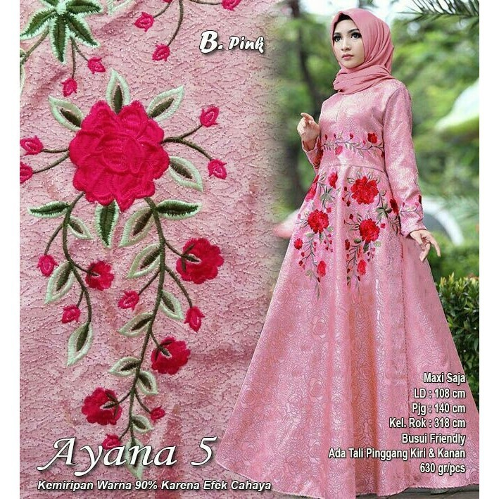 CD138 Baju Gamis Pesta Muslim Irsya Busui Bordir Bunga Warna Pink | Shopee Indonesia