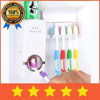 Dispenser Odol Kamar Mandi / Dispenser pasta Gigi Set Plus Tempat Sikat Gigi 5 Slot Murah