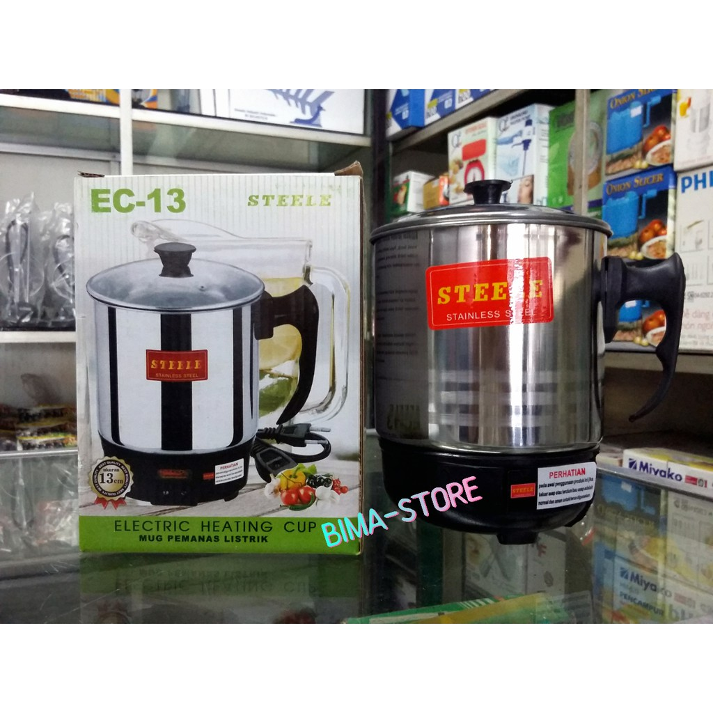 Teko Electric Heating Cup Steele Ec11cm Shopee Indonesia Q2 11cm Listrik Mug Pemanas