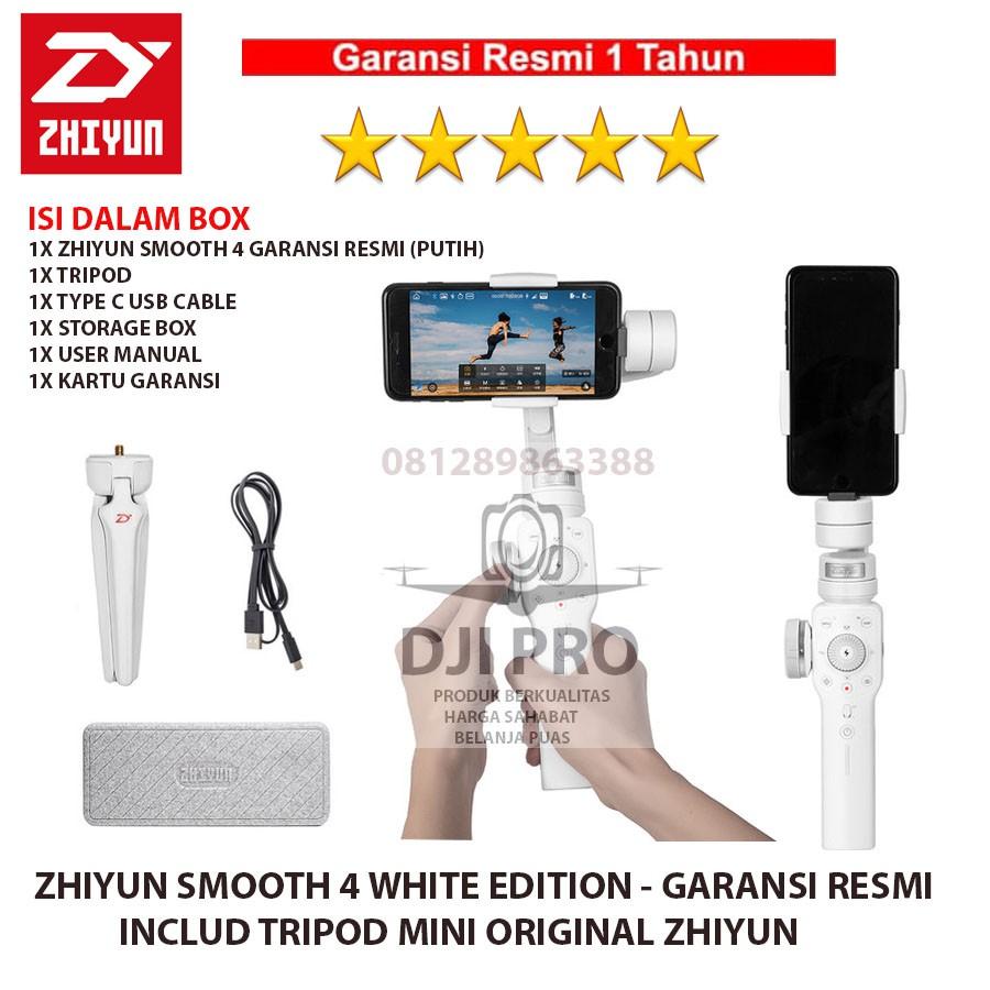 Zhiyun Smooth 4 White Edition Gimbal 3 Axis Smartphone Stabilizer Moza Mini Mi Garansi Resmi Shopee Indonesia