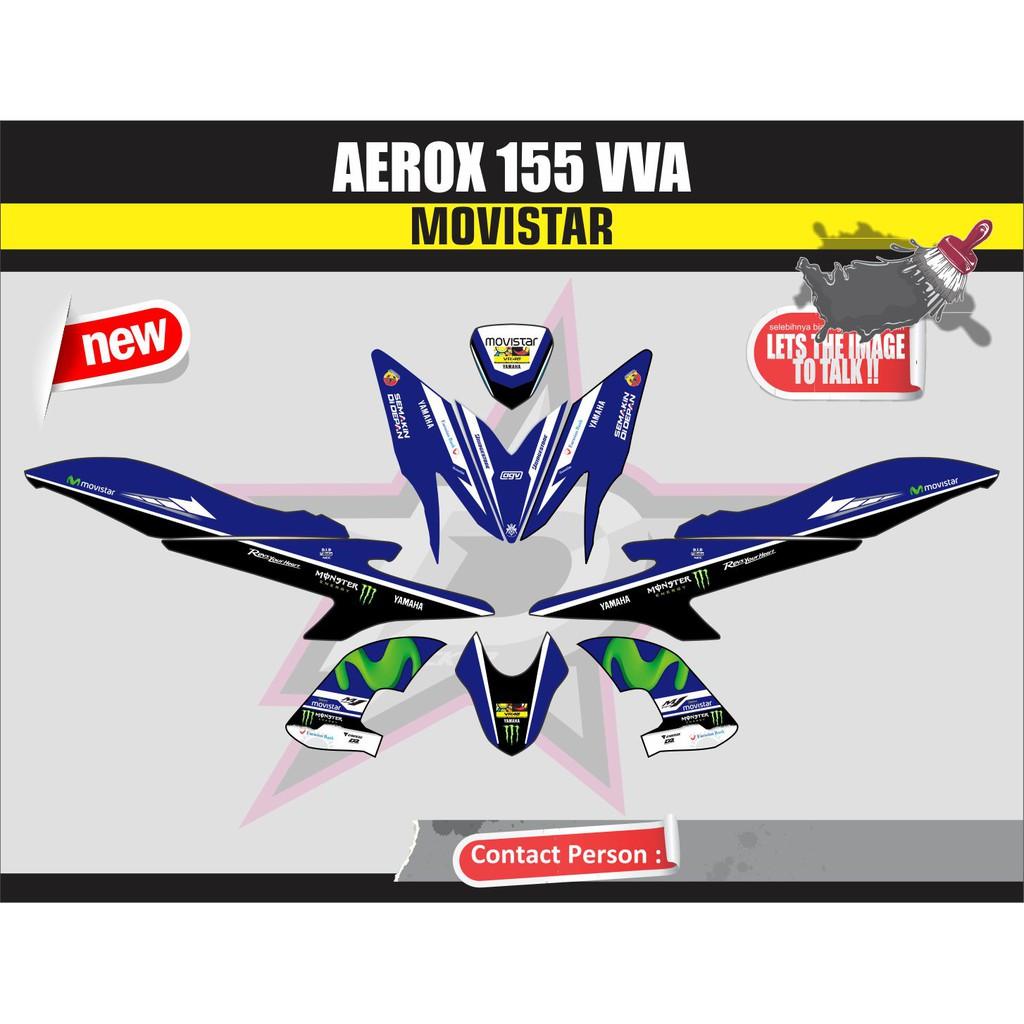 Sticker motor aerox 155 full body biru movistar shopee indonesia