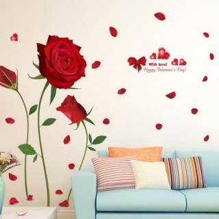 Stiker Dinding 60x90cm Motif Karakter Bunga Mawar Rose Merah Besar Dekorasi Rumah Ruang Tamu Shopee Indonesia