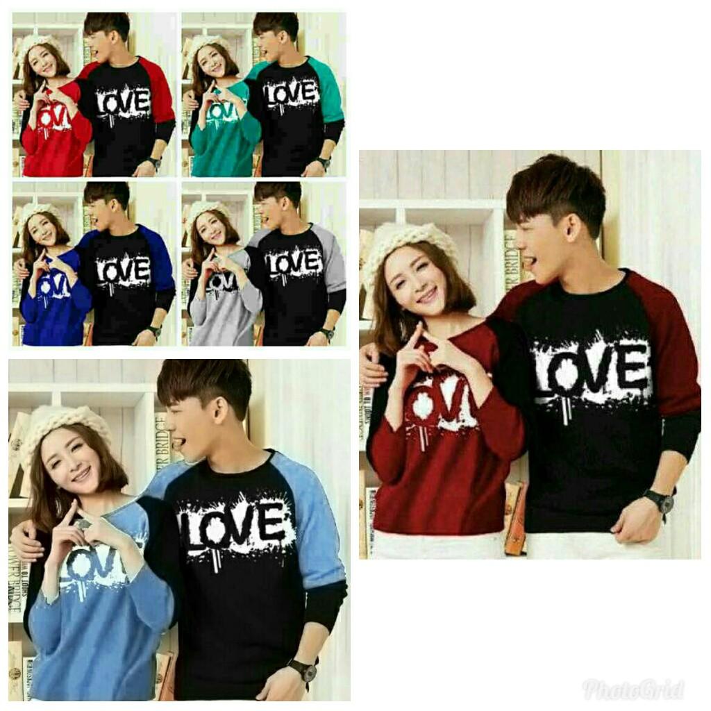 Couple Love / Baju pasangan Love CV / grosir couple blouse panjang   Shopee Indonesia