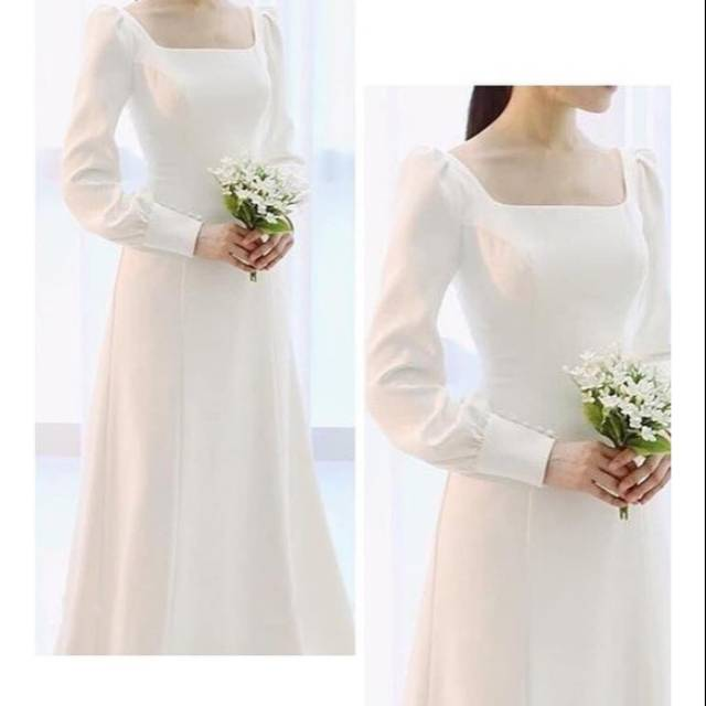 Gaun Pengantin Simple Hijab Baju Pengantin Dress Pengantin Wedding Dress Muslimah Bridal Shopee Indonesia
