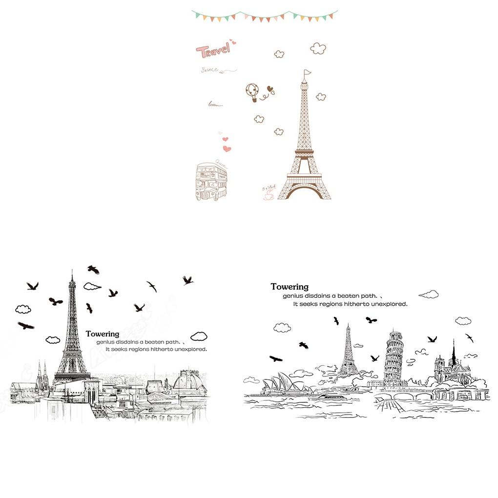 Topfire Stiker Dinding Pvc Anti Air Motif Menara Eiffel Untuk Dekorasi Rumah Shopee Indonesia