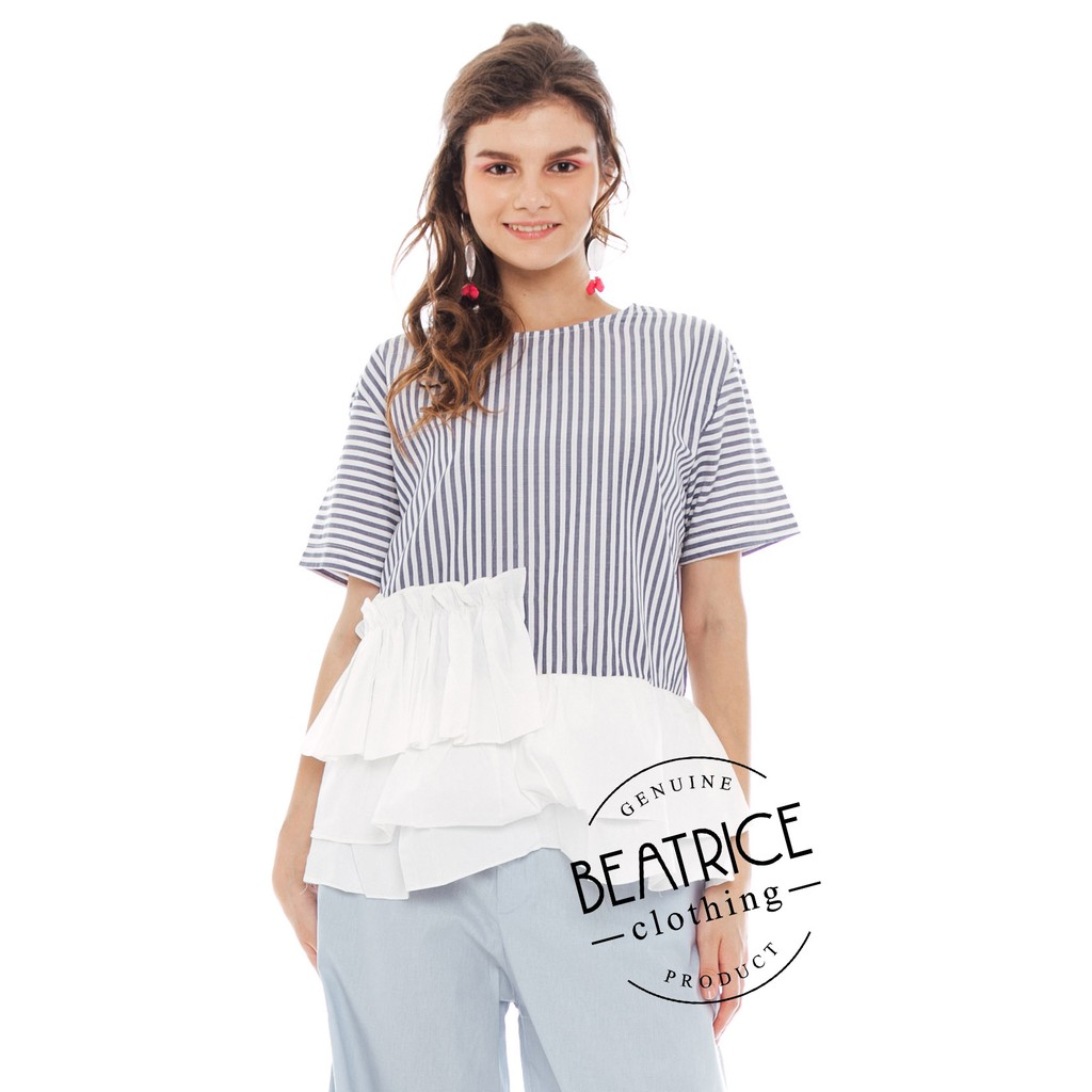 BEATRICE CLOTHING - Sabrina Ruffle Top in Grey