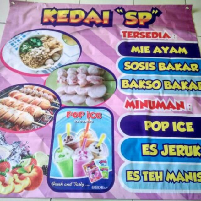 Banner Pop Ice Dan Sosis Bakar - desain spanduk kreatif