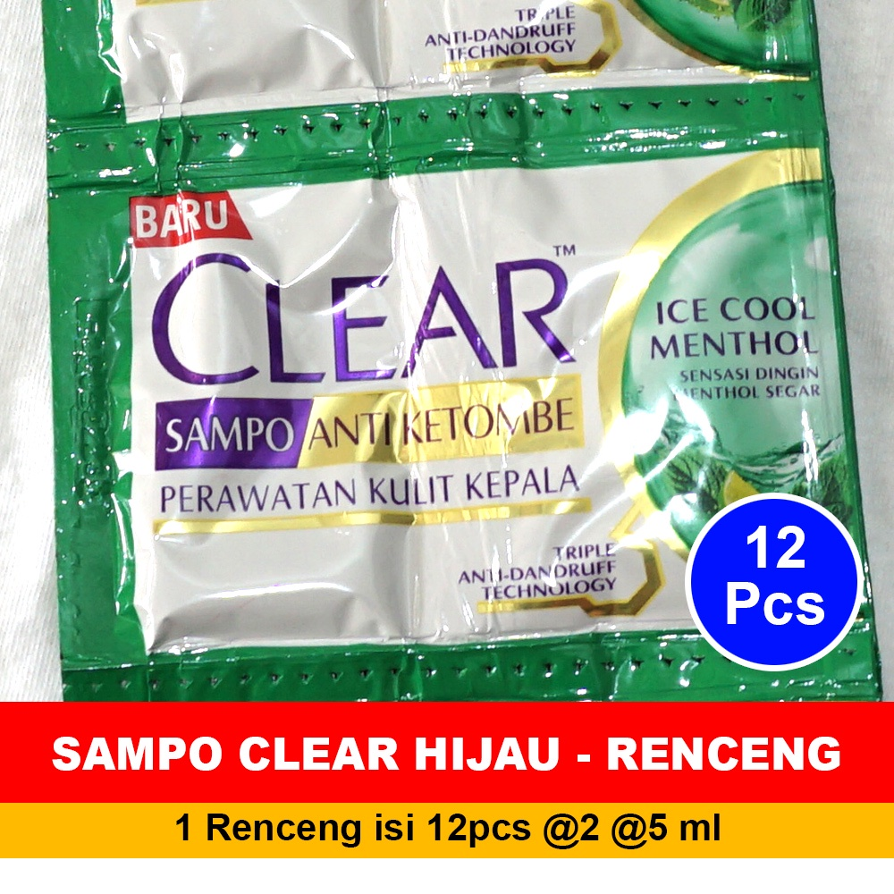Shampoo CLEAR HIJAU ICE COOL MENTHOL 1 Renceng 2x12 Sachet @5ml