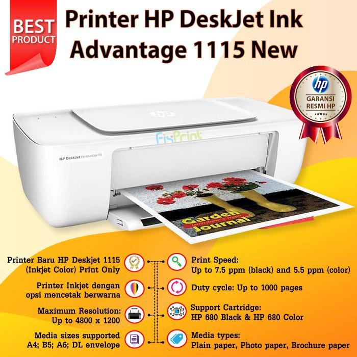 Printer Hp Deskjet Ink Advantage 1115 Tinta Cartridge Hp 680 Original Shopee Indonesia