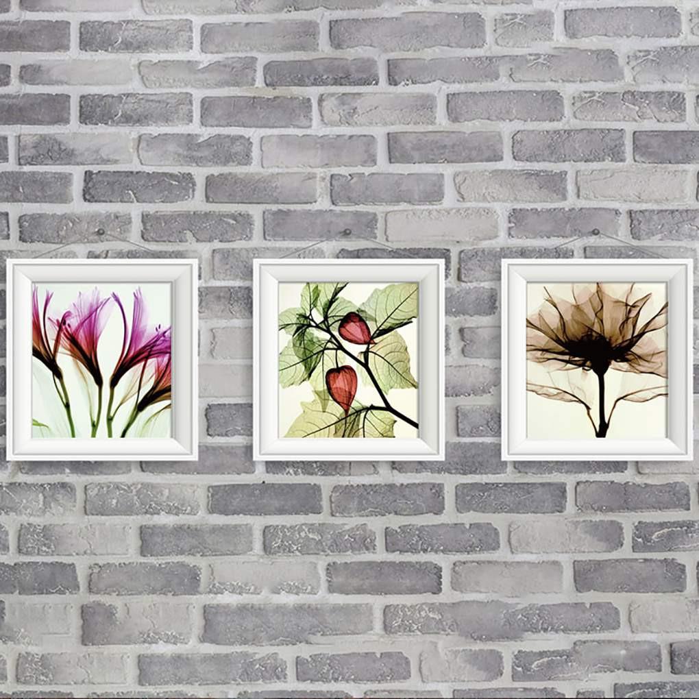 Lukisan Cat Minyak Desain Bunga Transparan Dengan 3 Panel