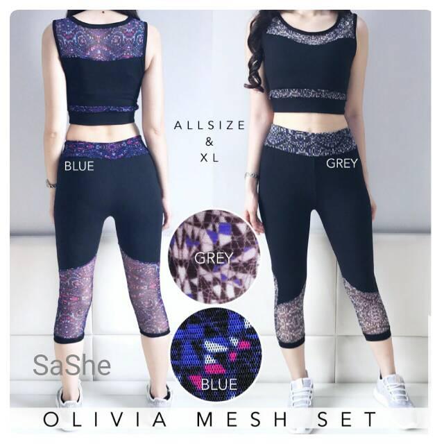 Olivia Mesh Set/Setelan Baju Olahraga Zumba Senam Aerobic