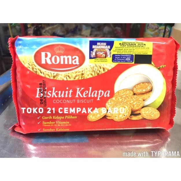 Ready Stock Roma Biskuit Kelapa 300 Gr Roma Coconut Biscuit Wafer