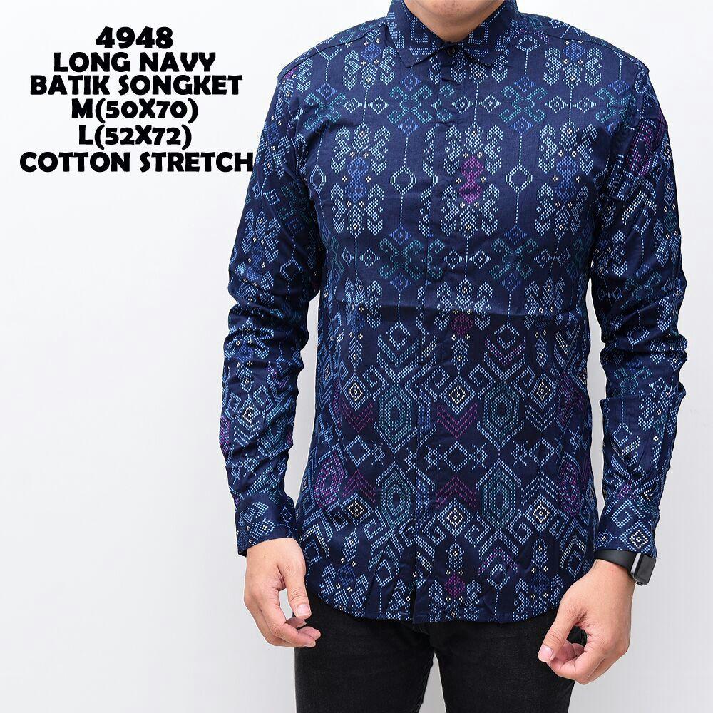 Brotherholicstore Kemeja pria lengan pendek hitam kombinasi batik songket slimfit | Shopee Indonesia