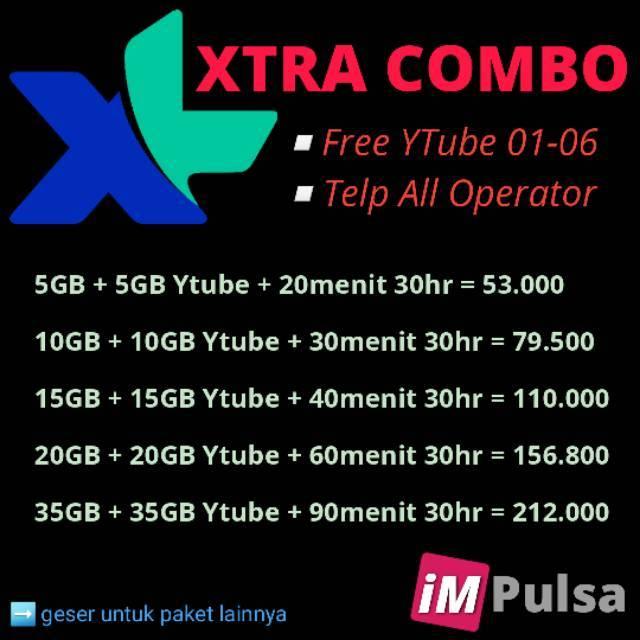 PAKET DATA INTERNET XL DATA COMBO LITE HOTROD XTRA COMBO