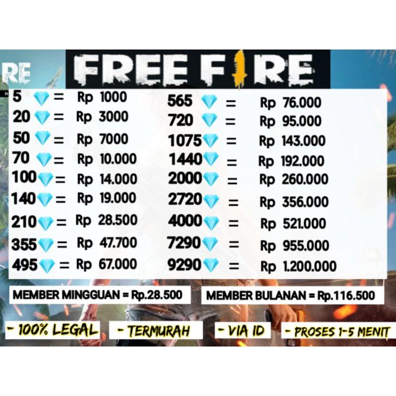 TOP UP MURAH DM FF TOPUP DIAMOND FREE FIRE/FF/FREEFIRE #1