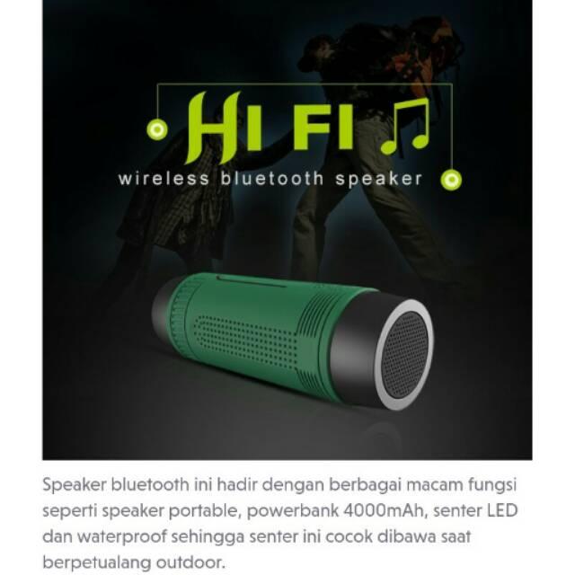 Bluetooth Speaker Waterproof dengan Powerbank 4000mAh & Senter | Shopee Indonesia