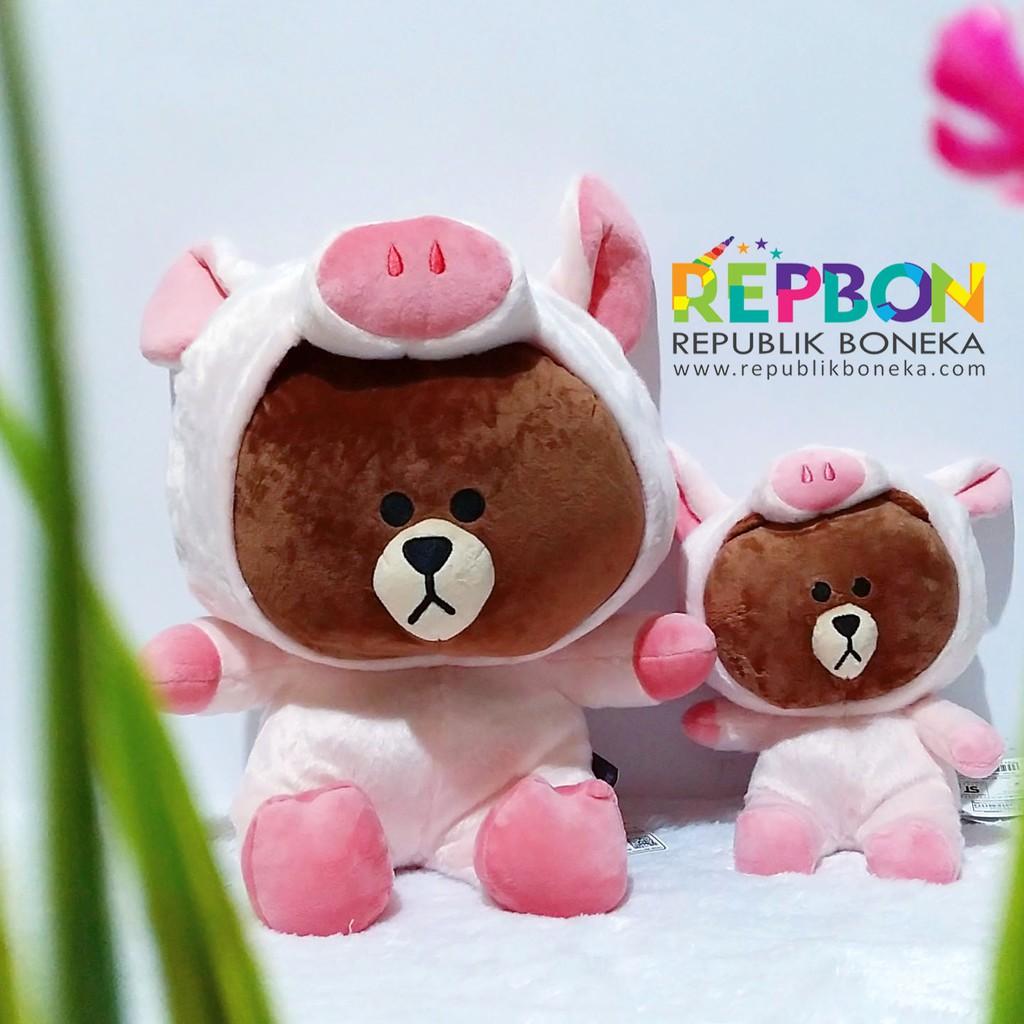 Boneka Line Brown Dan Cony Label Resmi Kado Couple Souvenir  5af755ecfe