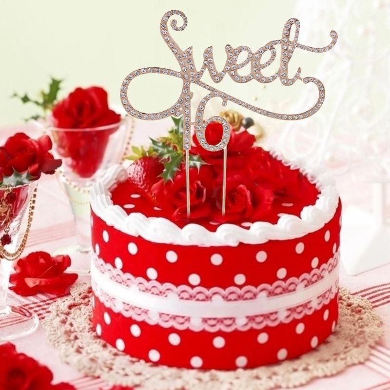 sweet 16 Cake Pick Topper Decoration Diamante Sparkly Rhinestone silver