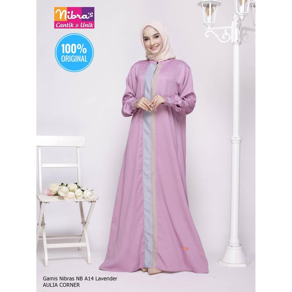 Desain Elegan Gamis Terbaru Nibras NB A10 Lavender ORIGINAL Model Gamis  Wanita Gemuk Dan Pendek