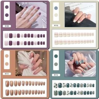 24pcs Kuku Palsu Lucu Dengan Lem Untuk Manicure R0102-R120 4