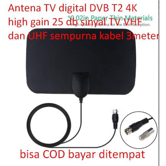 Antena TV digital DVB T2 4K hight gain 25 db sinyal TV VHF dan UHF sempurna kabel 3 meter