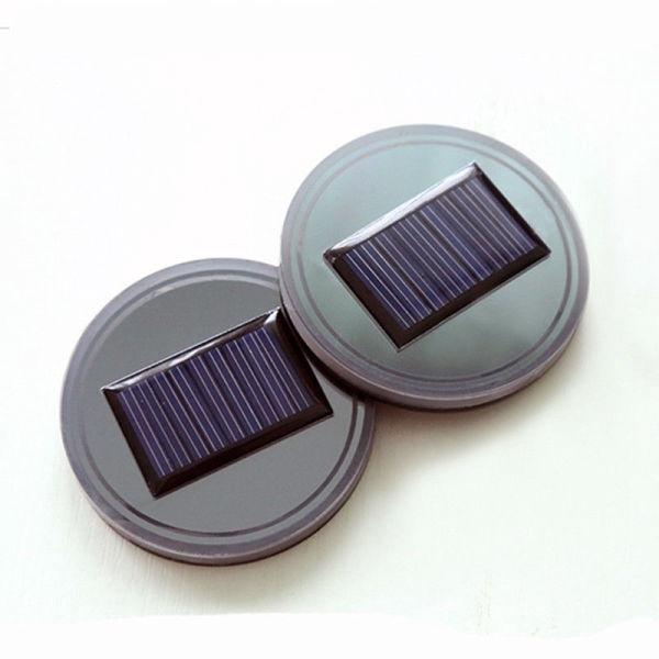 LED Light Cup Holder Bottom Pad Mat Interior Decoration Cars Solar Car Drink Holders Blue 2 Pack