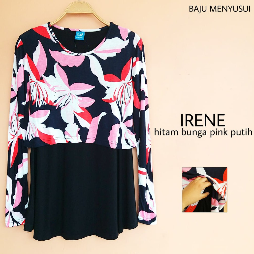 Just Mom Baju Menyusui Beyza Red Bv111 Jasmine Black Shopee Indonesia