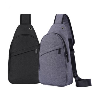Men USB Slot Anti-theft Chest Sling Bag
