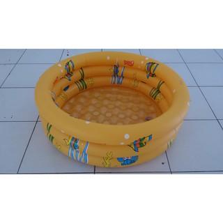kolam renang anak bulat 90cm alas gelembung motif ikan