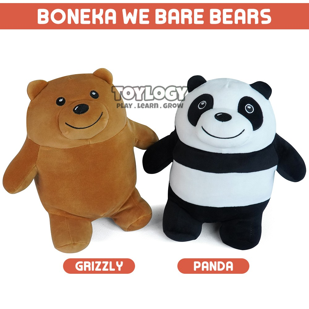 Boneka We Bare Bears Ice Bear Grizzly Panda Stuffed Plush Doll Shopee Indonesia