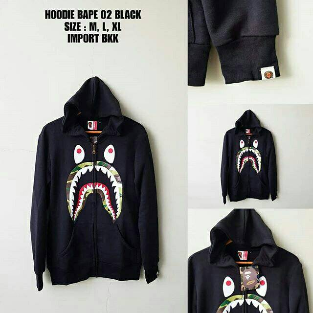 0ebc78e13ee1 HOODIE BAPE 01 BLACK JAKET SWEATER COWOK HITS KEKINIAN HYPE TREND MONSTER