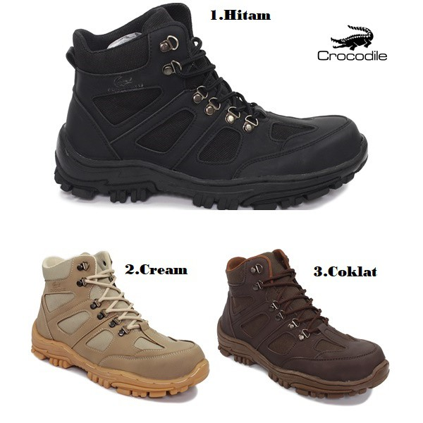 sepatu boots pria crocodile delta wolfrin safety boots tracking hiking touring kerja proyek | Shopee Indonesia