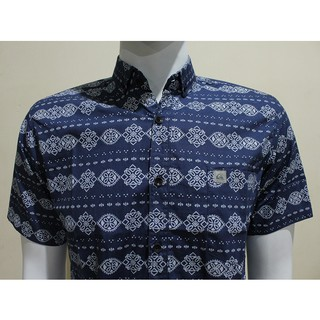 kemeja batik pria cowok lengan pendek biru navy motif songket slimfit murah formal .