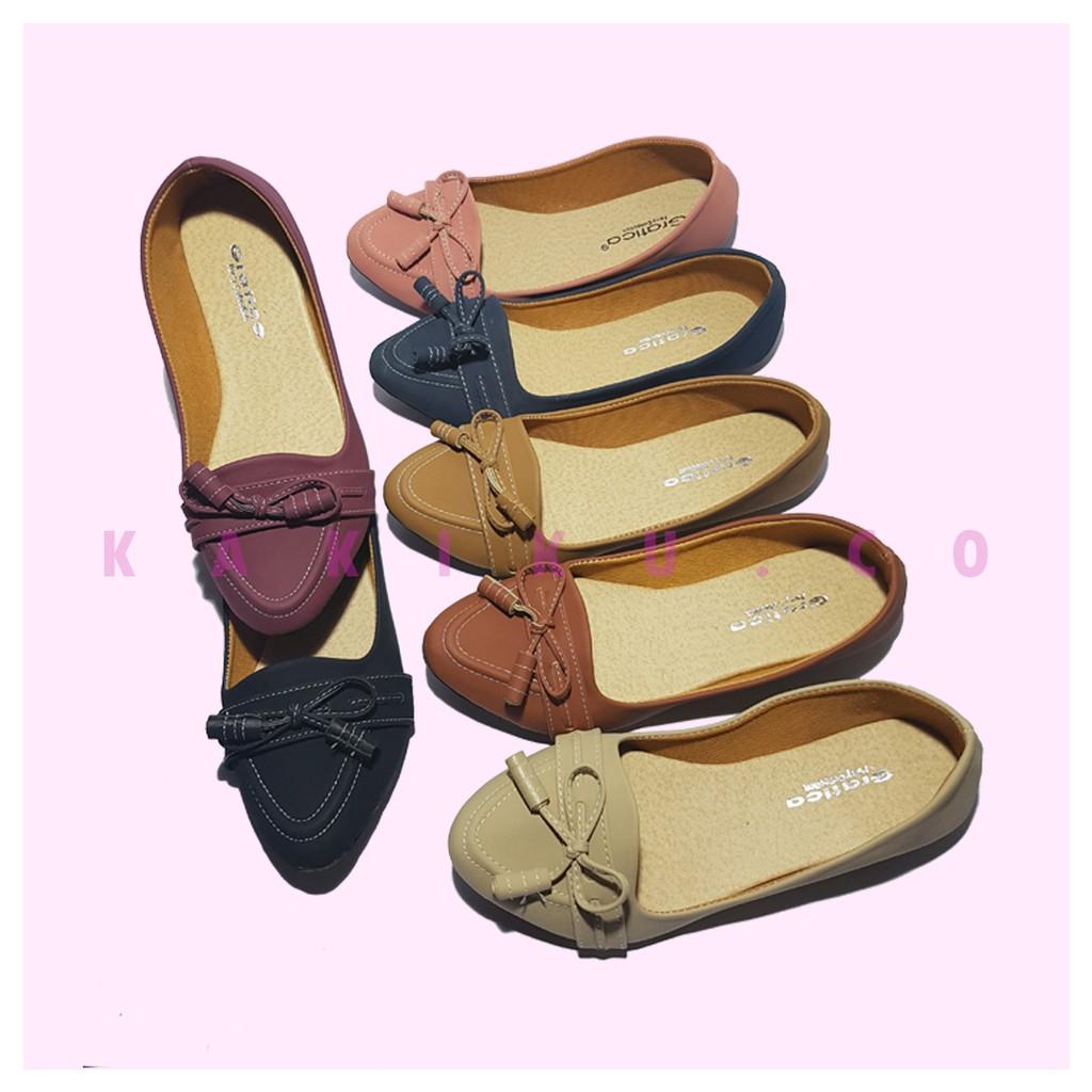 Terbaru Flat Shoes Imut Minnie 1602 Shopee Indonesia Wanita Kerja Kanvas Lukis  Slipon Px Style Suster