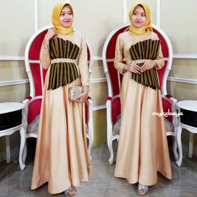 Zimara Dress Pesta Brokat Velvet Kombinasi Batik Lurik