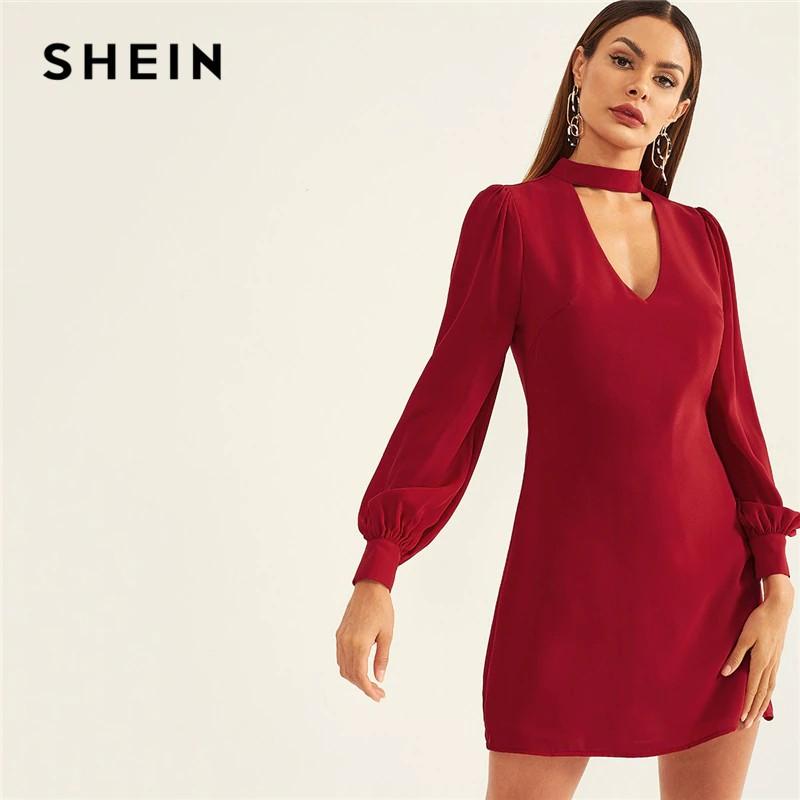 926f4903fd SHEIN Burgundy Choker Neck Sheath Short Party Dress 2019 Women Plain Spring Long  Sleeve Slim | Shopee Indonesia