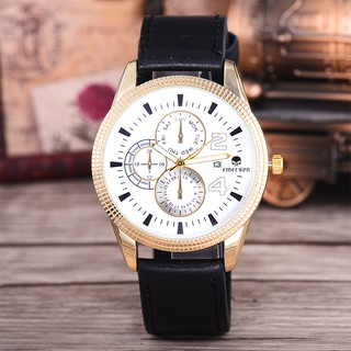 Emerson Jam Tangan Pria 7400 Gold/White DIal Black Leather Strap